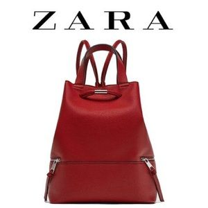 Red zara faux leather backpack